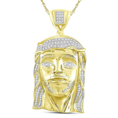 10kt Yellow Gold Mens Round Diamond Jesus Face Charm Pendant 3/8 Cttw