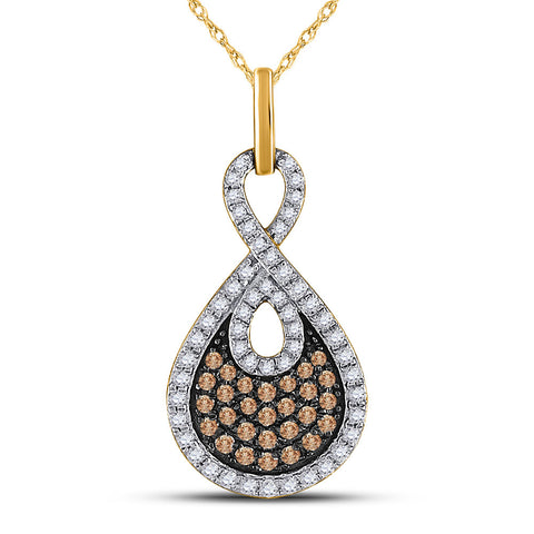 10kt Yellow Gold Womens Round Brown Diamond Teardrop Pendant 1/2 Cttw