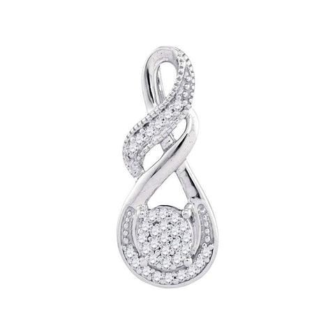 10kt White Gold Womens Round Diamond Cluster Teardrop Pendant 1/12 Cttw