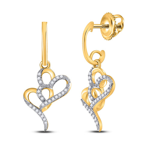 10kt Yellow Gold Womens Round Diamond Heart Dangle Earrings 1/6 Cttw