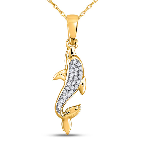 10kt Yellow Gold Womens Round Diamond Dolphin Animal Pendant 1/20 Cttw