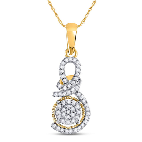 10kt Yellow Gold Womens Round Diamond Curl Cluster Pendant 1/6 Cttw