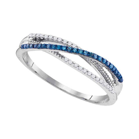 10kt White Gold Womens Round Blue Color Enhanced Diamond Band Ring 1/6 Cttw