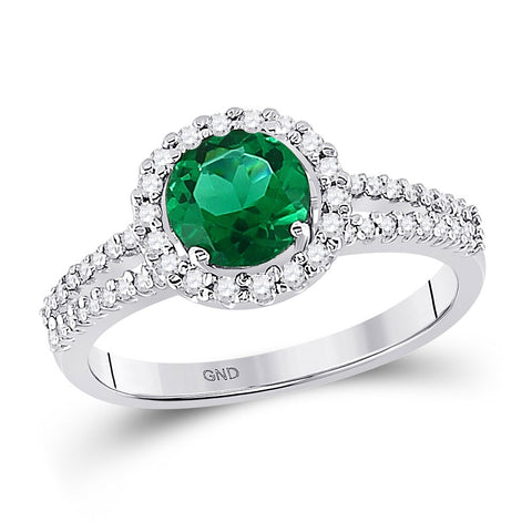10kt White Gold Womens Round Lab-Created Emerald Diamond Solitaire Ring 1-1/2 Cttw