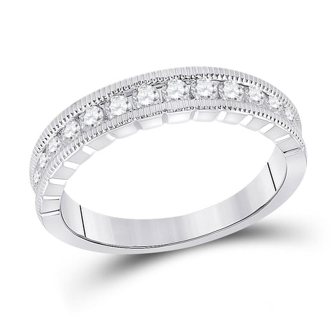 14kt White Gold Womens Round Diamond Single Row Band Ring 1/2 Cttw