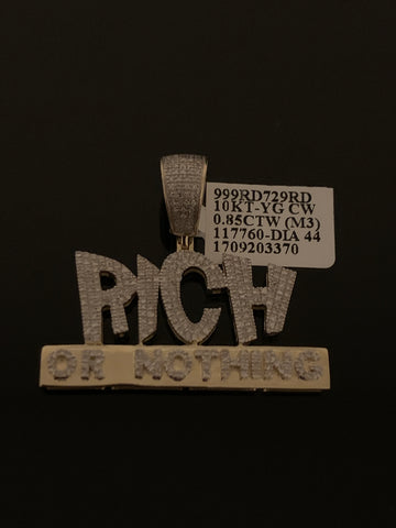 10k Gold and Diamond Rich or Nothing Pendant (.85 CTW)