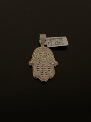 10k Gold and Diamond Hamsa Hand Pendant (1.40 CTW)