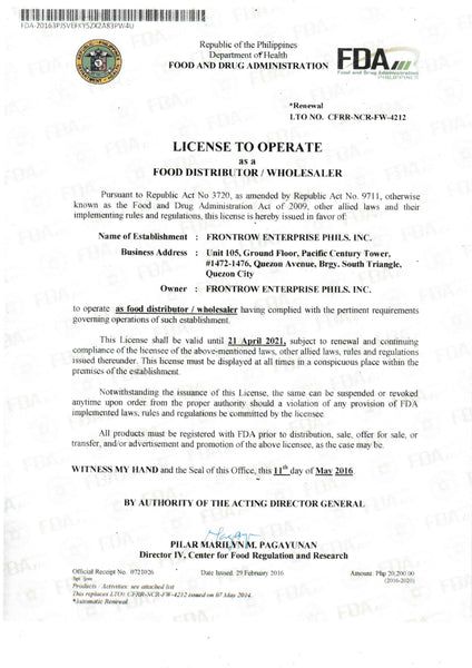Frontrow Canada License to Operate