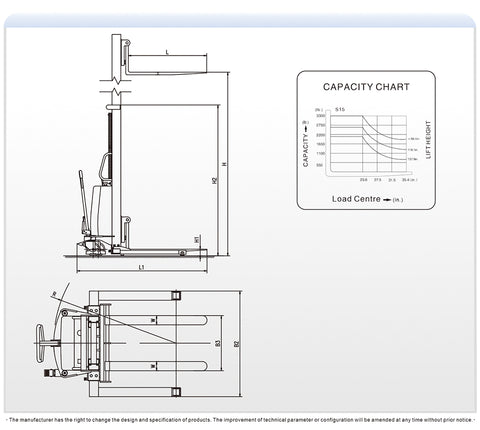Semi-Electric Stacker technical drawing showing dimensions