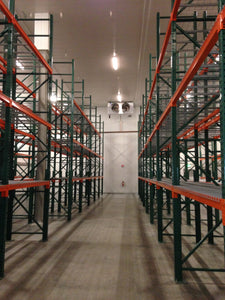 Newly installed pallet racking showing upright frames and beams