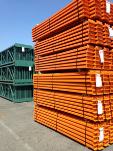 Stack of pallet racking beams ready for shipping