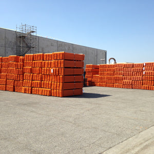 Large inventory of pallet rack beams