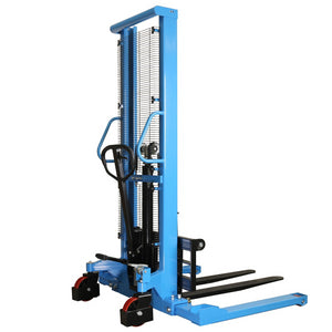 "Manual pallet stacker has a minimum fork elevation of 1.4"" and a maximum lifting height of 63""."