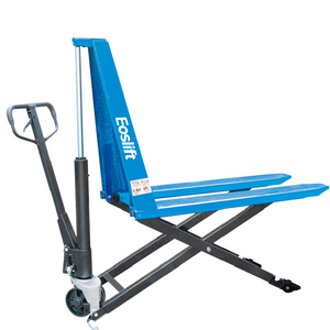 Manual pallet jack with extra lift - acts as a lift table for use with pallets with no bottom boards