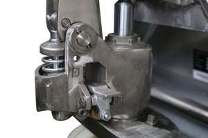 Stainless Steel pallet truck with steel casted pump close-up view