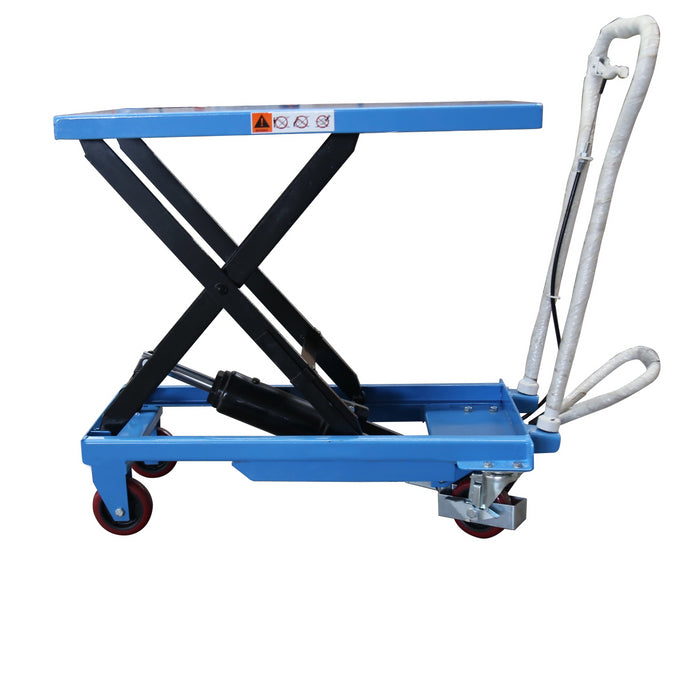 Scissor lift table cart with table top elevated