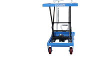 Load image into Gallery viewer, Front view of table top elevated on a scissor lift cart