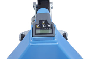 front view of the digital scale on a hand pallet jack - EOSlift