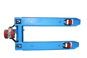 The covered reinforced forks on a manual pallet jack with an electric scale.