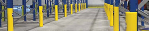 Pallet rack fitted with column guards - post protectors