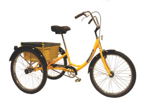 Husky T-326 Industrial Tricycle in yellow with rear basket