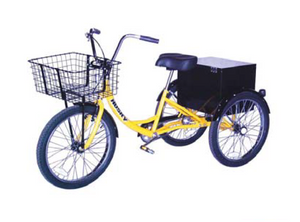 Husky T-124C industrial Tricycle with front basket and cabinet