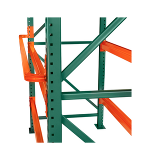 Pallet Backstop:  Tube and Structural design provides a safe way to inform the forklift driver they've reached the back of the pallet racking.