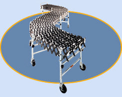 Expandable flexible conveyor with plastic nylon or steel wheels