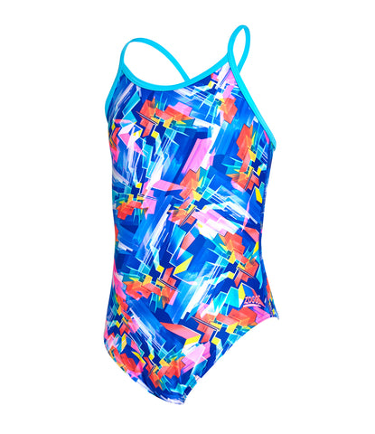 Girls Digital Geo Sprintback One Piece