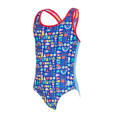 Girls Geo Fun Actionback One Piece