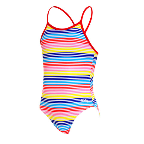 Kids Girl Geo Fun Stripe Strappy Hi Front in Multi Colour