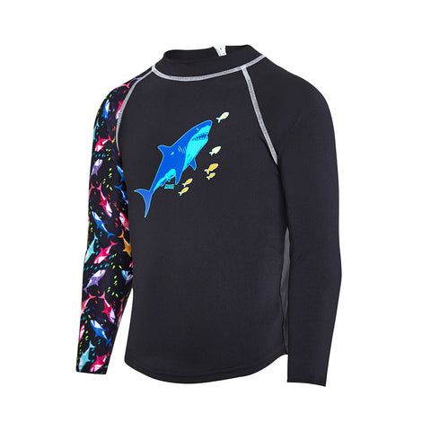 Kids Boy Shark Alert Long Sleeve Sun Top in Black