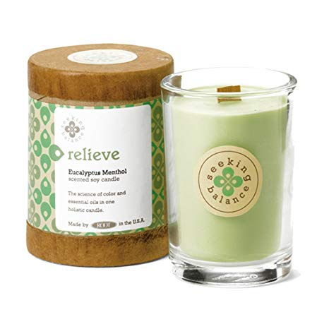 Relieve Eucalyptus Mentol Scented Soy & Essential Oil Candle (6.5oz) - Wilson Lee