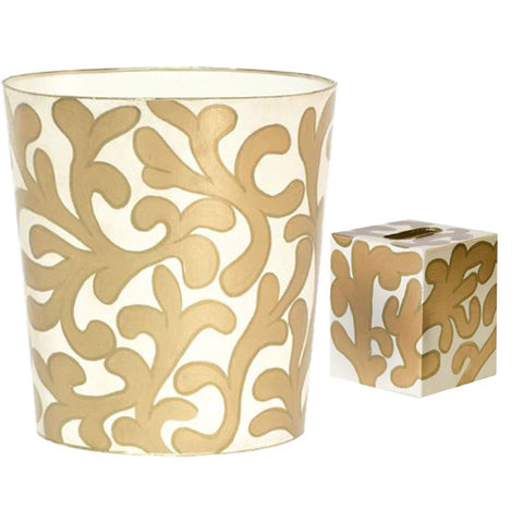 Gold Wastebasket and Tissue Box Cover - Wilson Lee
