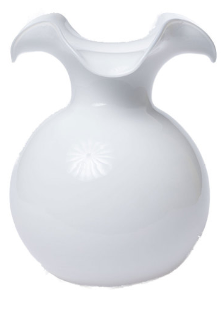 Hibiscus Large White Fluted Vase - Wilson Lee
