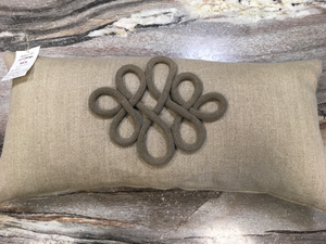 Imperial Linear Taupe Crest Pillow - Wilson Lee