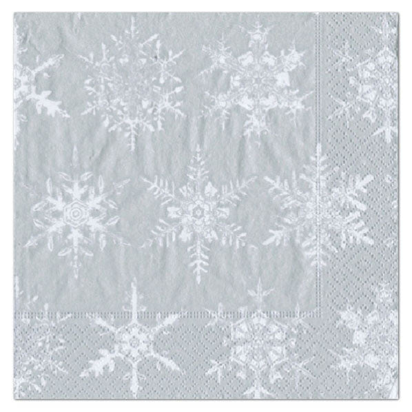 Cocktail Napkin Falling Snow Silver - Wilson Lee