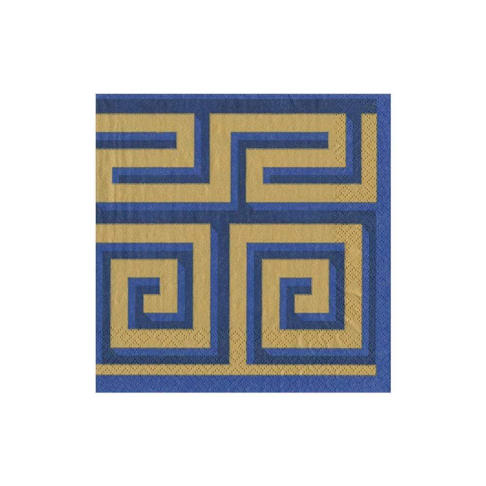 Cocktail Napkin Greek Meander Blue/Gold - Wilson Lee