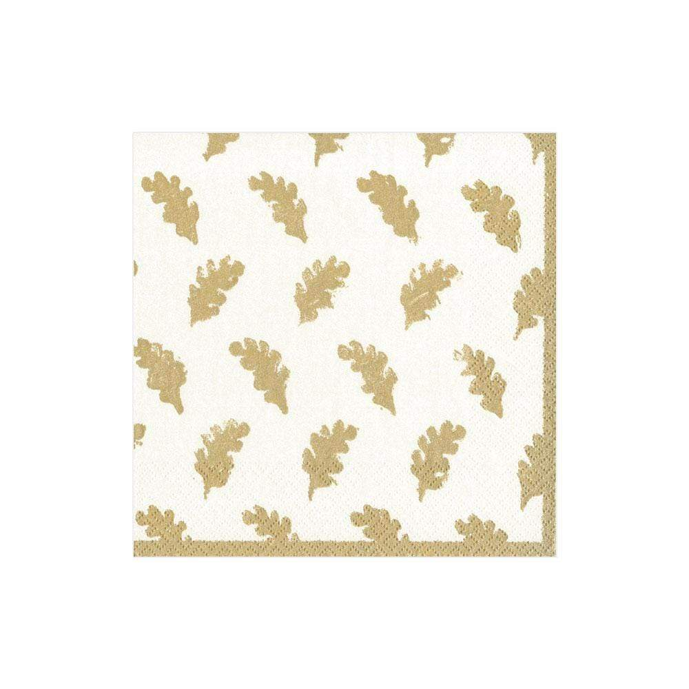 Cocktail Napkin Leaves of Gold Ivory - Wilson Lee