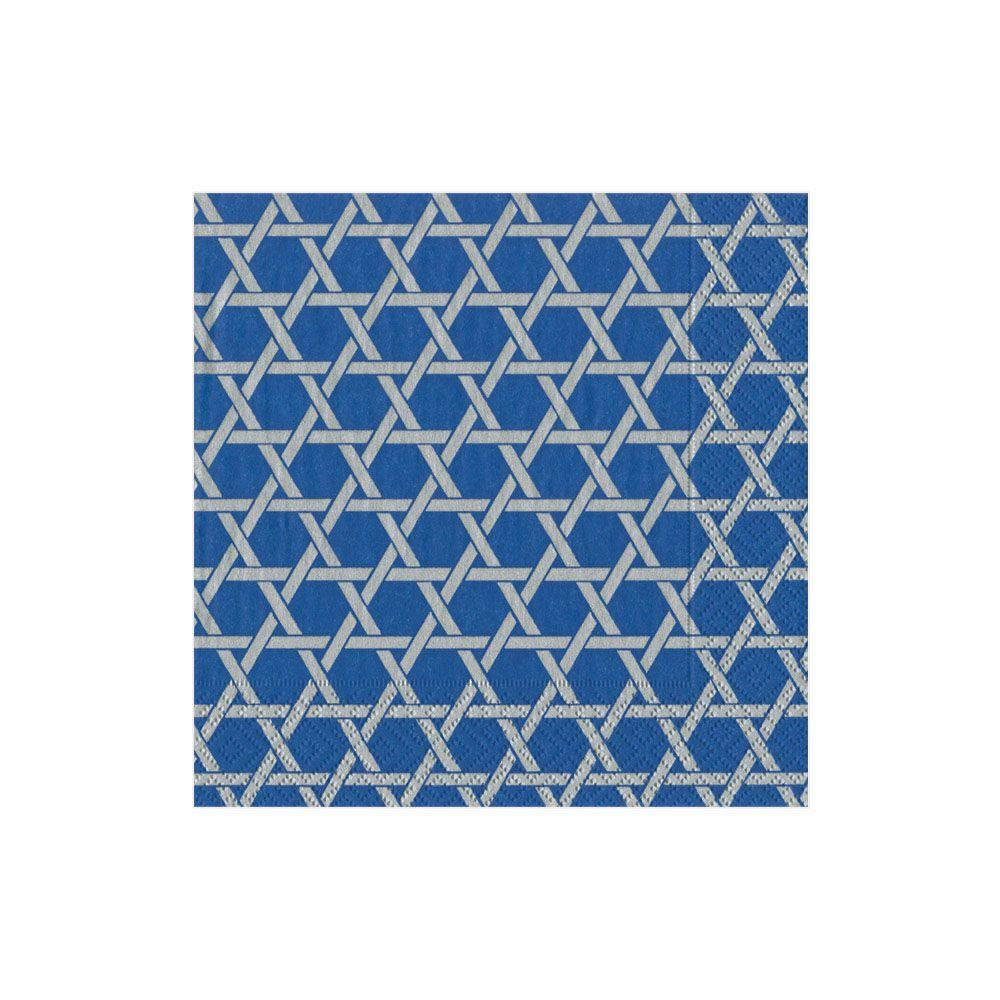 Star Lattice Blue/Silver Cocktail Napkin - Wilson Lee