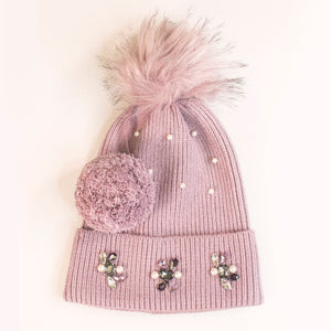 Embellished Knit Beanie with Pom - Wilson Lee