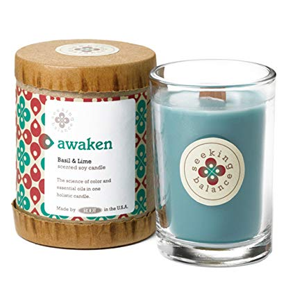 Awaken Basil & Lime Scented Soy & Essential Oil Candle (6.5oz) - Wilson Lee