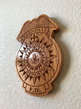 "Load image into Gallery viewer, Wooden Firefighter Shield: Small 10""x10""x3/4"""