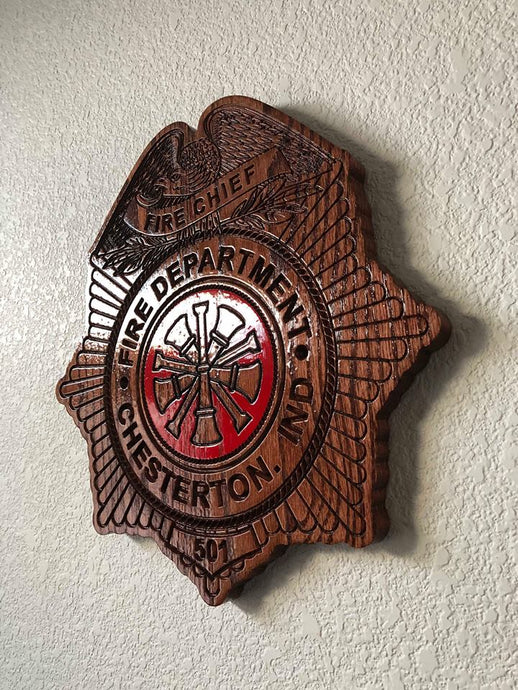 Wooden Firefighter Shield: Medium 14