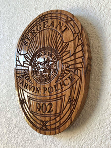 "Wooden Police Shield: Small 10""x10""x3/4"""