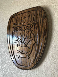 "Wooden Firefighter Shield: Small 10""x10""x3/4"""