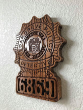 "Load image into Gallery viewer, Wooden Police Shield: Medium 14""x14""x3/4"""