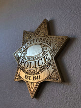"Load image into Gallery viewer, Wooden Police Shield: Small 10""x10""x3/4"""