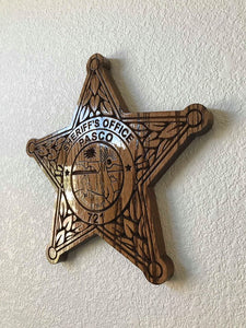 "Wooden Police Shield: Medium 14""x14""x3/4"""