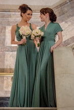 Load image into Gallery viewer, Emerald Green Wedding Bridesmaid Formal Convertible Wrap Multi-way Ballgown Dress Lucy and Loo Style and Scents On Sale